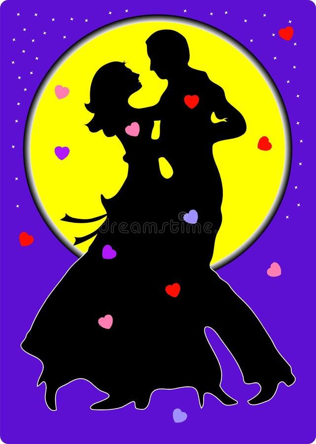 夫妇跳舞华伦泰向量 库存例证
