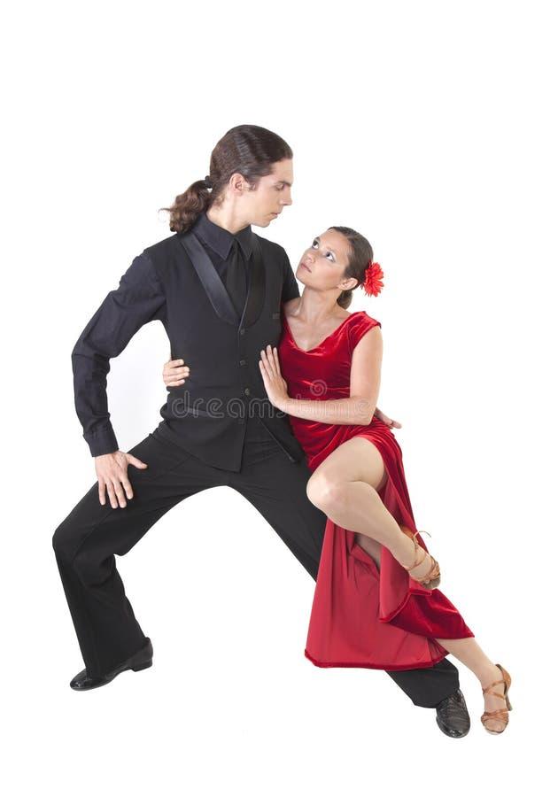 年轻夫妇跳舞探戈 库存图片