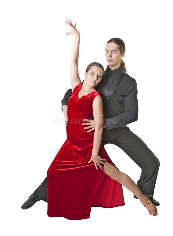 年轻夫妇跳舞探戈 图库摄影