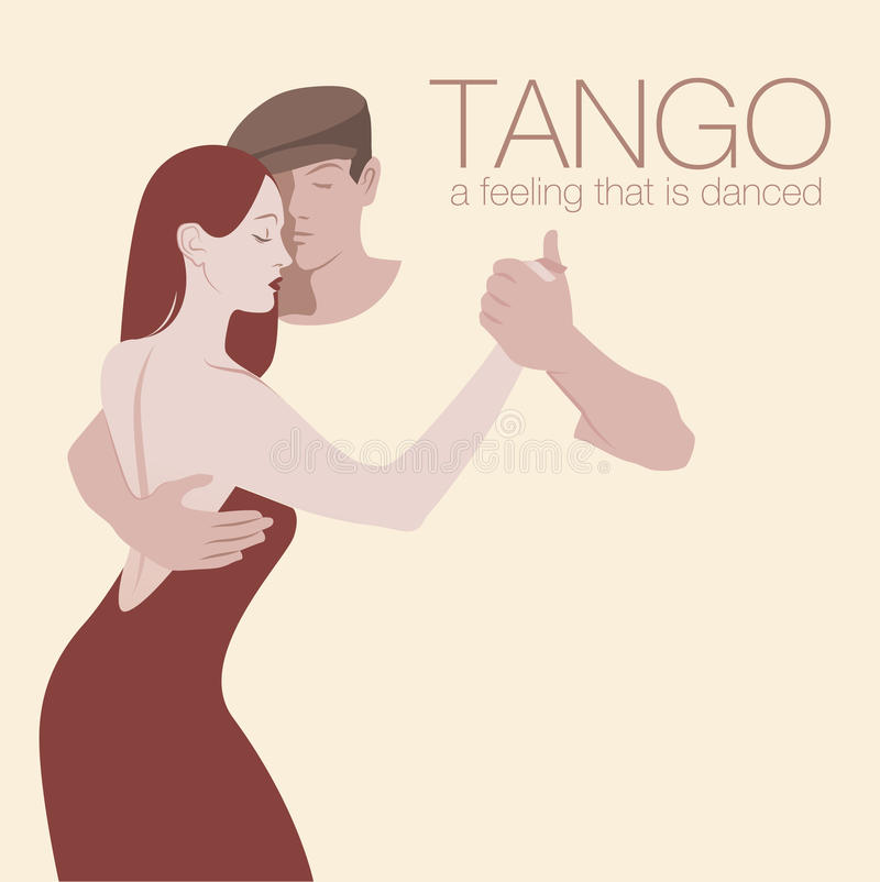 夫妇跳舞探戈年轻人 向量例证