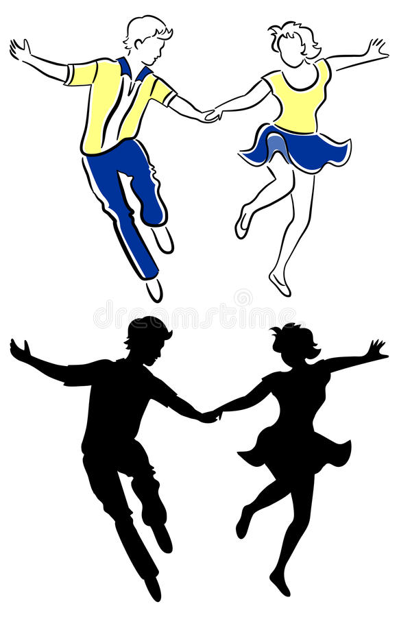 夫妇跳舞摇摆 向量例证