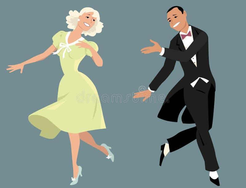 夫妇跳舞查出的白色 向量例证