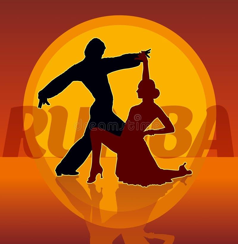 夫妇跳舞的拉丁舞蹈剪影  向量例证
