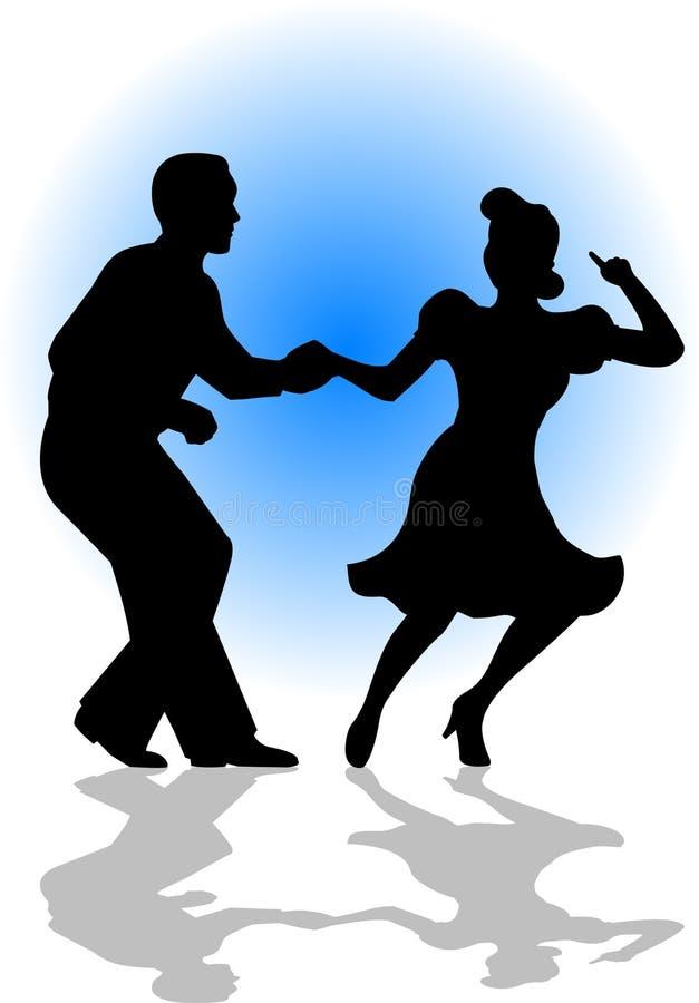 夫妇跳舞eps摇摆 库存例证