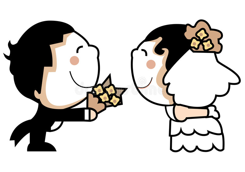夫妇逗人喜爱的婚礼 库存例证