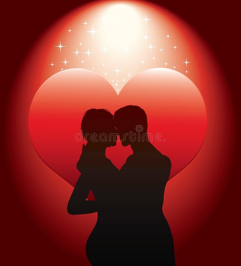 夫妇重点红色性感的剪影 库存例证