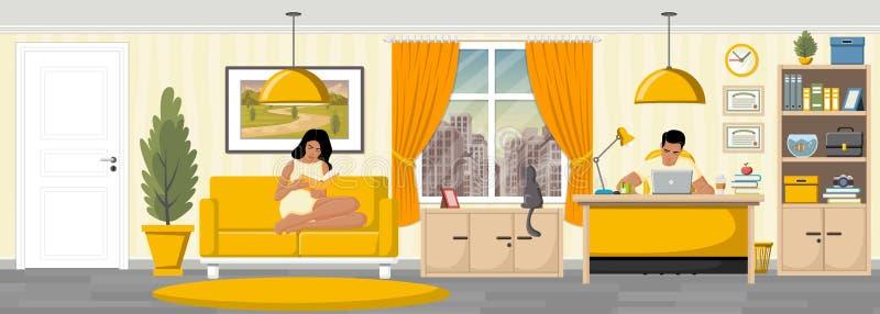 年轻夫妇阅读书在客厅 向量例证