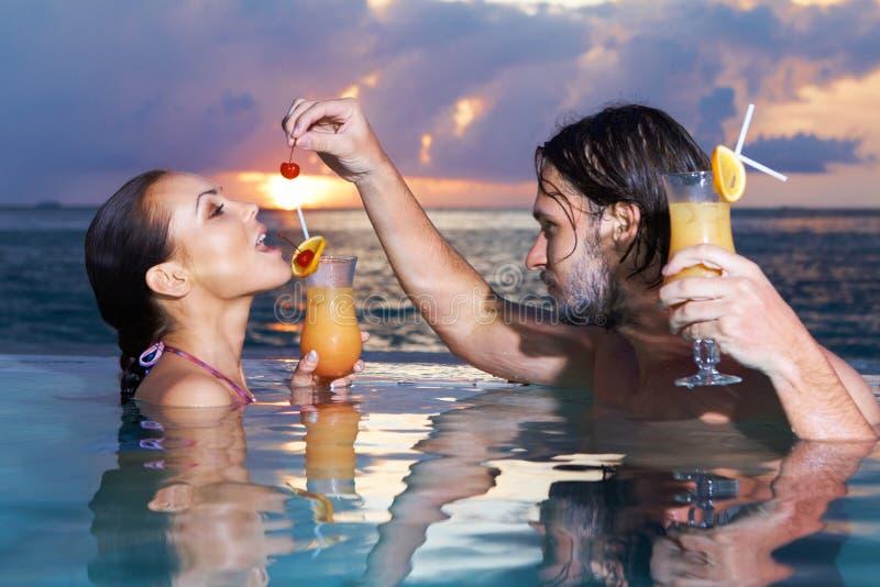 夫妇马尔代夫 免版税库存图片