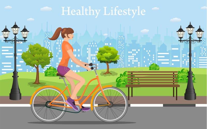 夫妇骑马自行车在公园, 库存例证