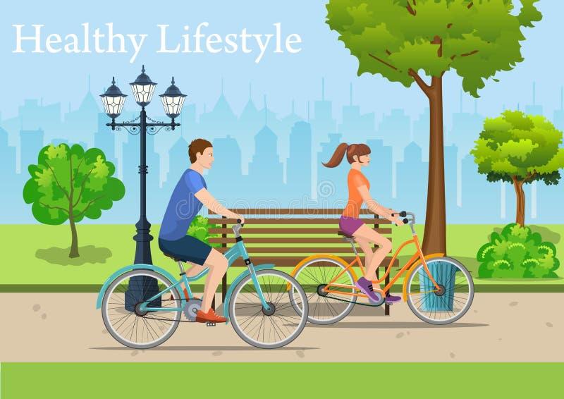 夫妇骑马自行车在公园, 向量例证