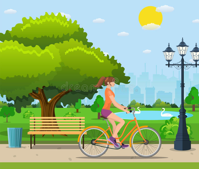 夫妇骑马自行车在公园, 皇族释放例证