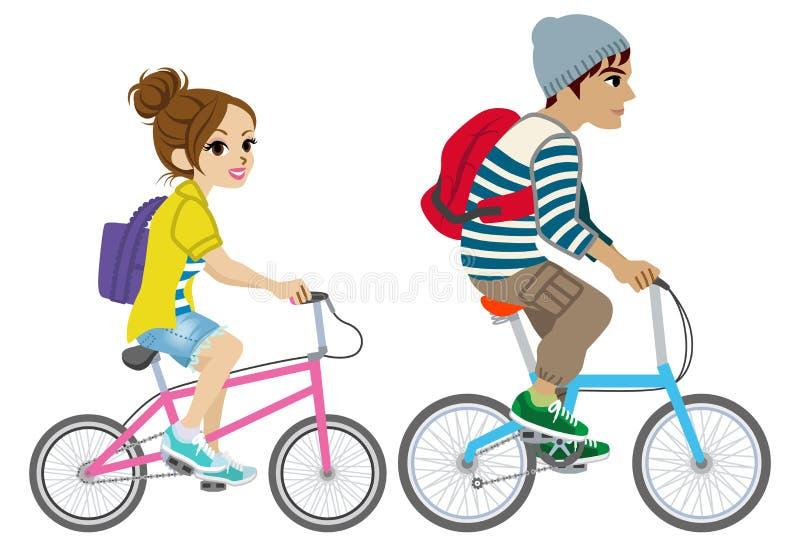 年轻夫妇骑马自行车,被隔绝 向量例证