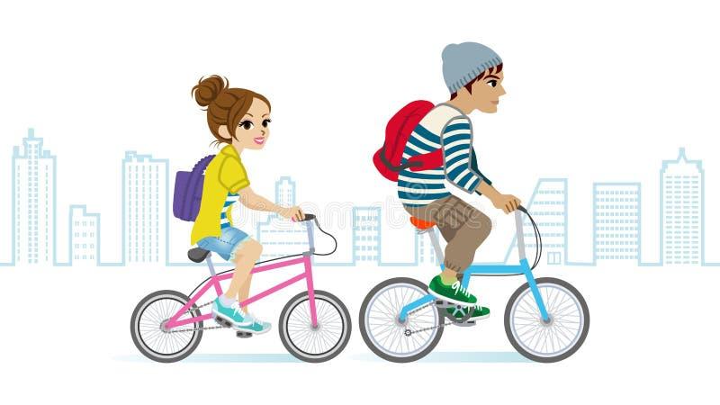 年轻夫妇骑马自行车,都市风景 向量例证