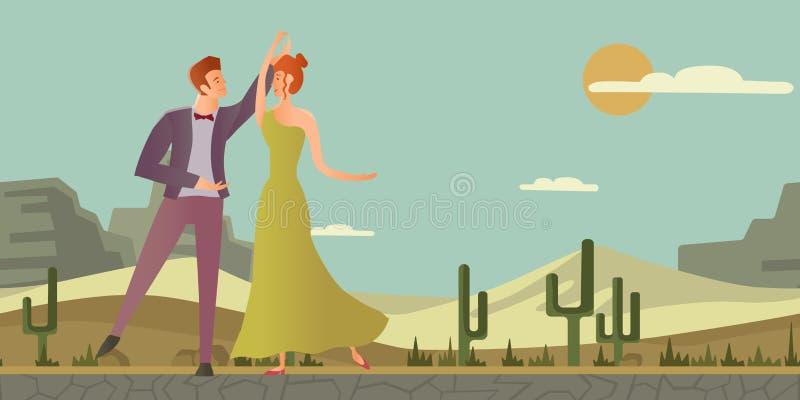 夫妇年轻人 男人和妇女跳舞舞厅舞在沙漠环境美化 也corel凹道例证向量 库存例证