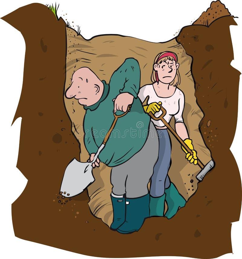 夫妇钻孔开掘 库存例证