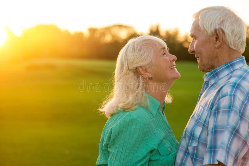 夫妇年长的人微笑 库存图片