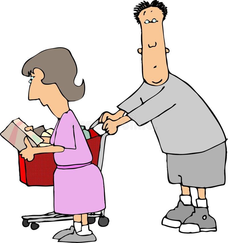 夫妇ii购物 向量例证
