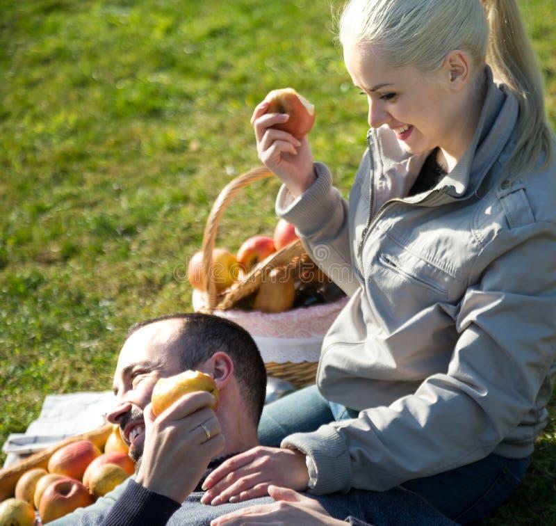 夫妇lounging在户外野餐 库存图片