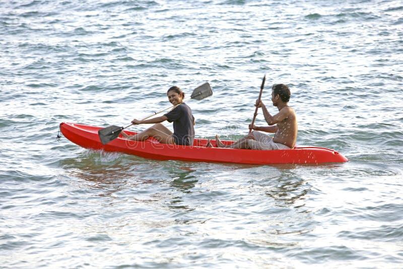 夫妇n海皮船,泰国 免版税库存照片