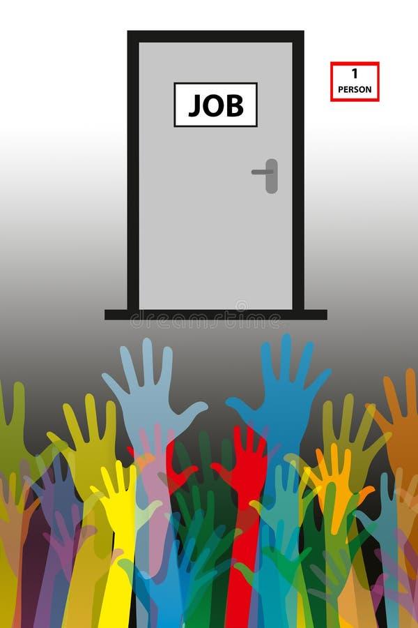 失业概念一人工作,许多申请人 库存图片