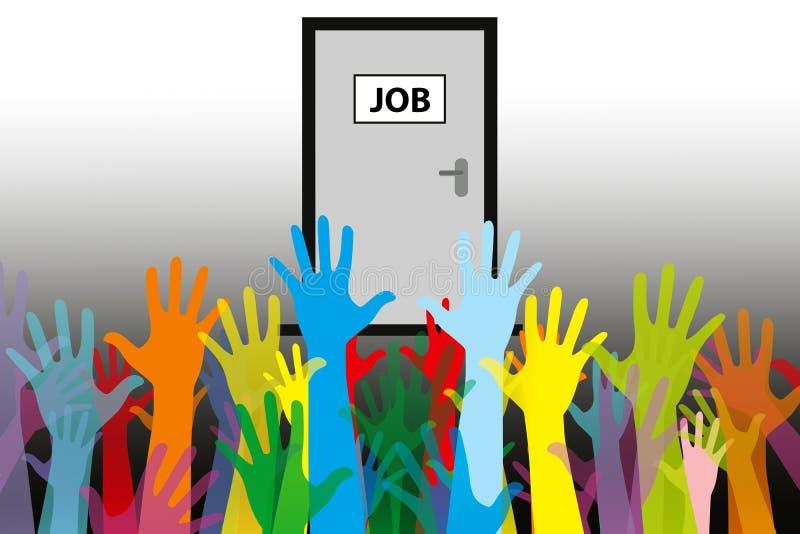失业概念一人工作,许多申请人 免版税库存图片