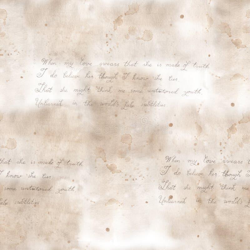 失去的情书:信件的无缝的剪贴薄样式 r 对纺织品装饰和设计 图库摄影