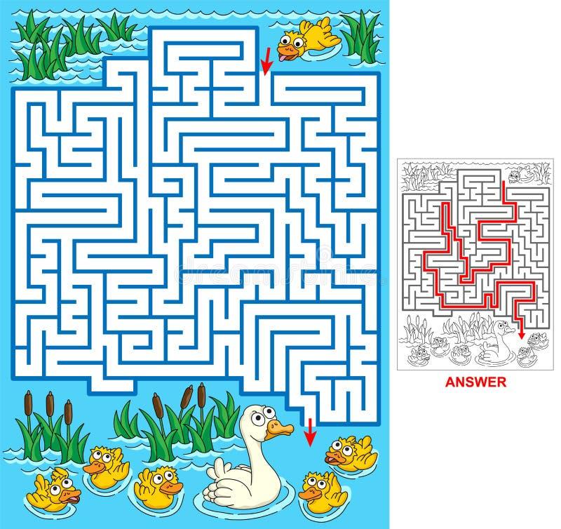 失去的鸭子-孩子的迷宫 向量例证