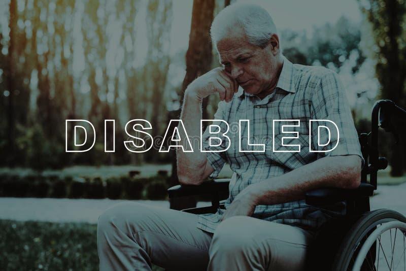 失去能力在轮椅 沉思地坐的退休人员 库存图片