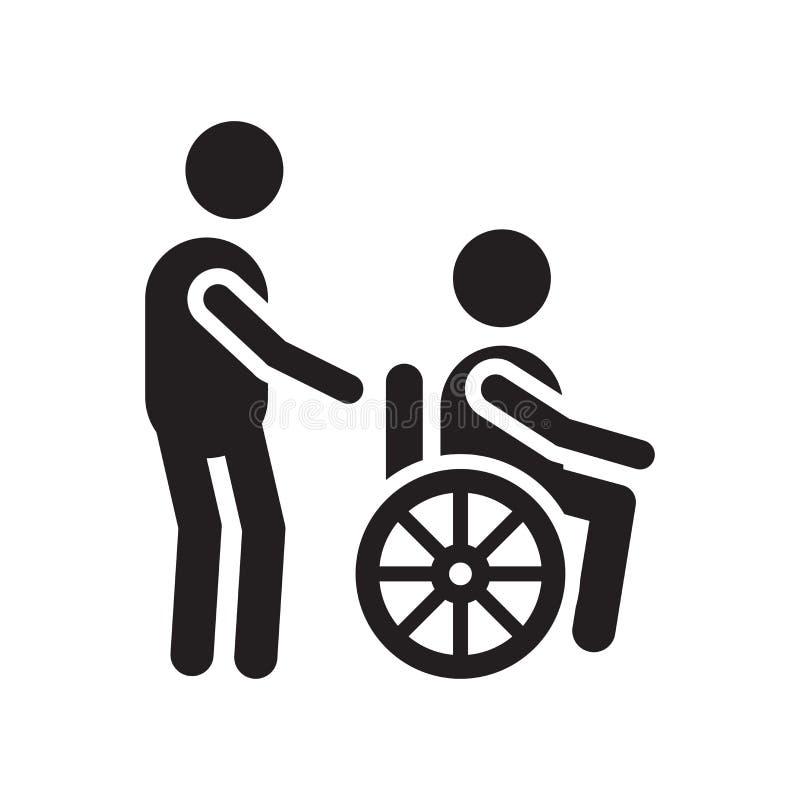 失去能力的象在白色背景隔绝的传染媒介标志和标志,残疾商标概念 库存例证
