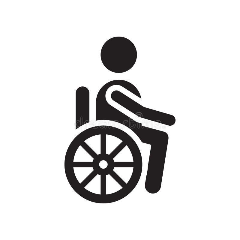 失去能力的象在白色背景隔绝的传染媒介标志和标志,残疾商标概念 皇族释放例证
