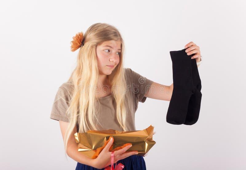 失望的礼物-一个对黑袜子 免版税库存图片