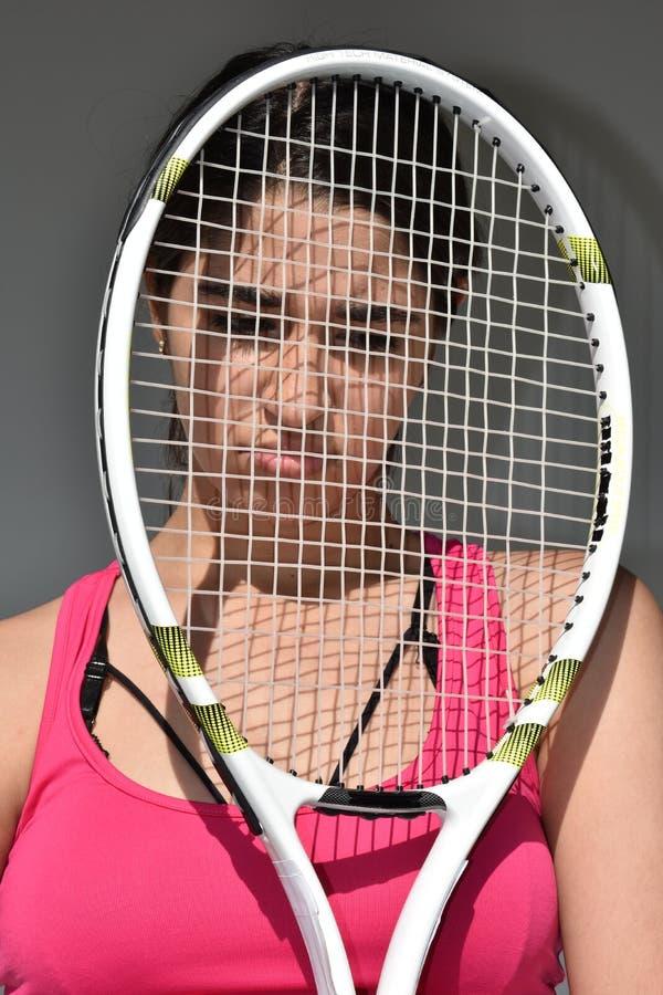 失望的运动网球员青少年的女性 免版税库存图片