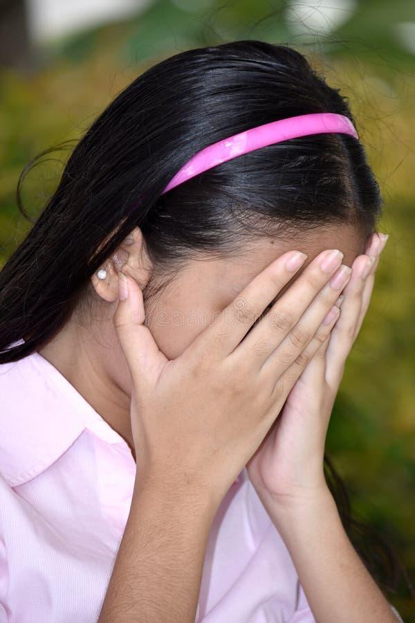 失望的逗人喜爱的菲律宾女人女孩 库存照片