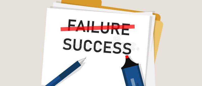 失败是成功过程中的激动人心的文本 在纸标记的词 企业挑战的概念 向量例证