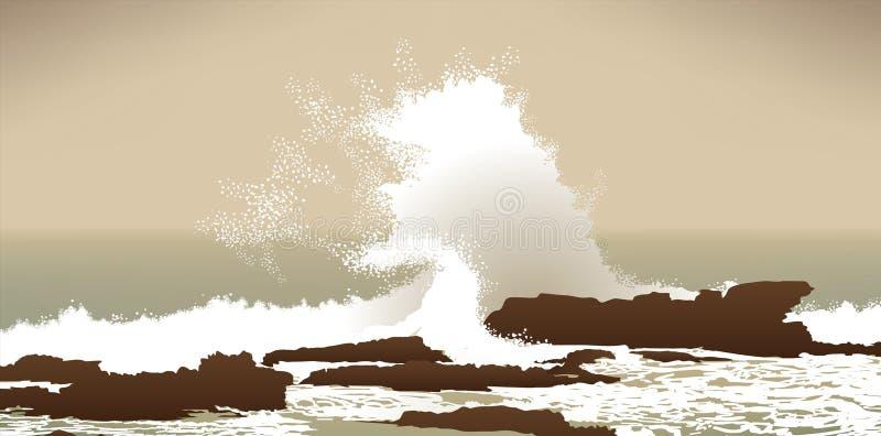 失败的大海洋和平的岩石通知 库存例证