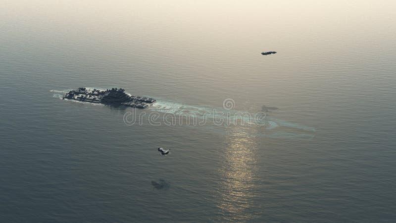 失败的太空飞船在海洋 库存例证