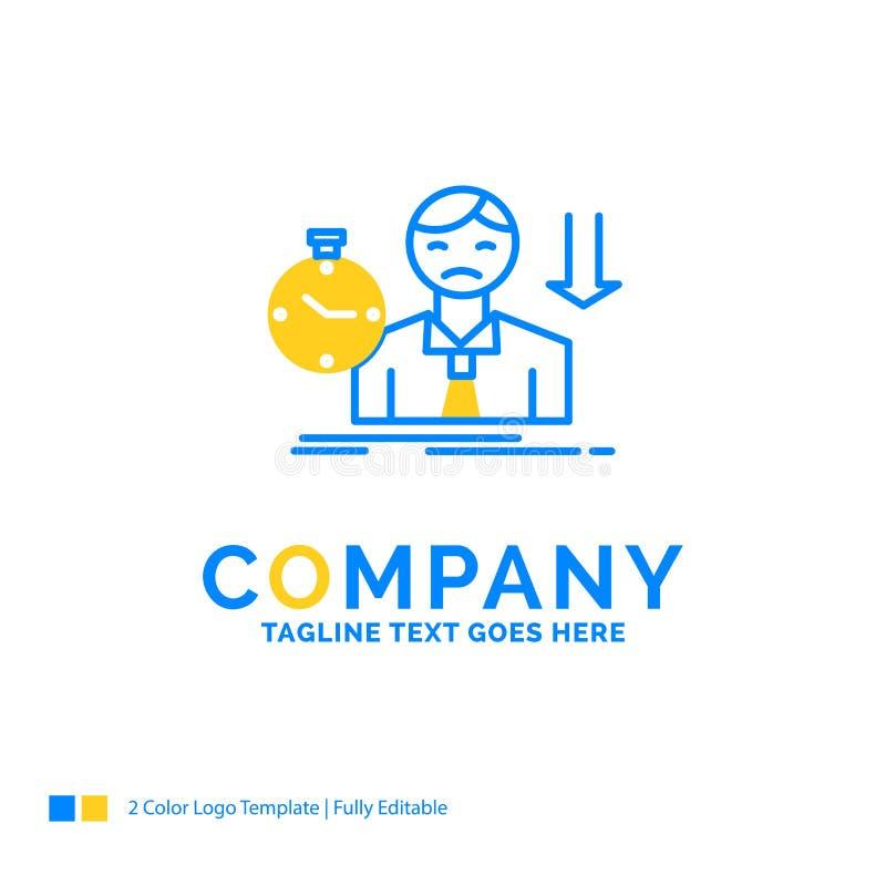 失败,失败,哀伤,消沉,时间蓝色黄色企业商标t 皇族释放例证