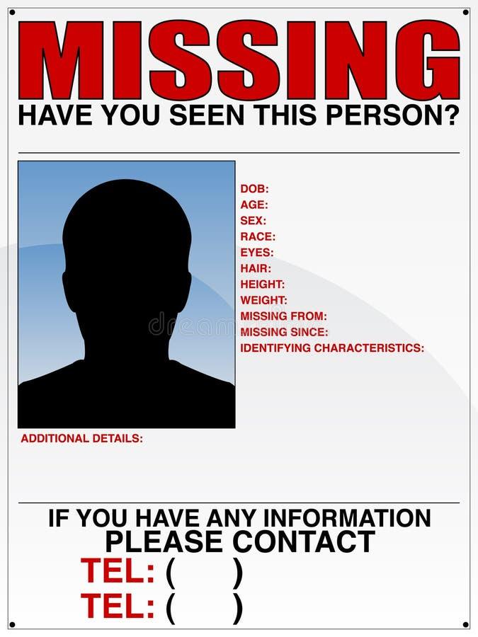 失踪者海报 库存例证