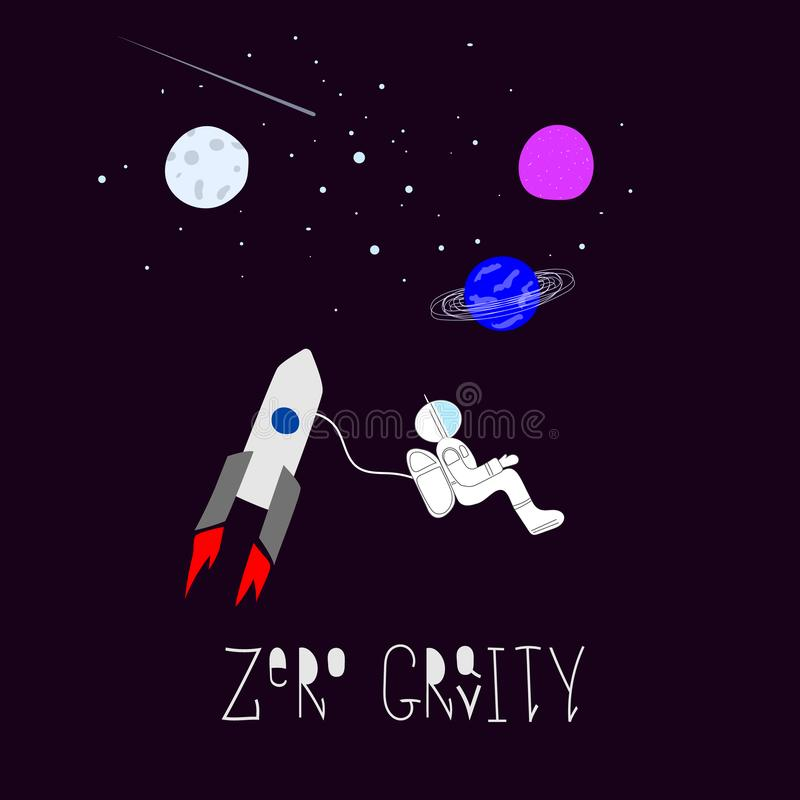 失重宇宙空间宇航员自然星保险开关scircle贴纸设置了月亮旅行波斯菊天文图形设计 库存例证