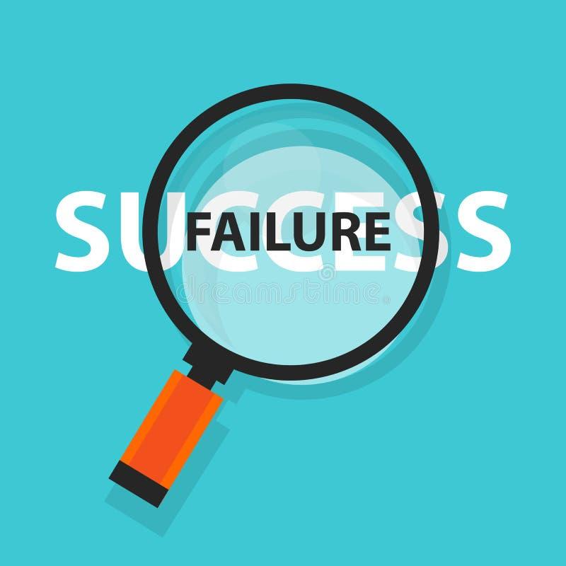 失败成功概念在放大镜标志后的经营分析 皇族释放例证