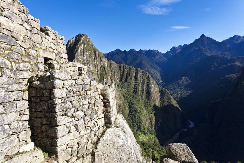 失去的印加人城市马丘比丘的废墟在秘鲁-南美 库存照片