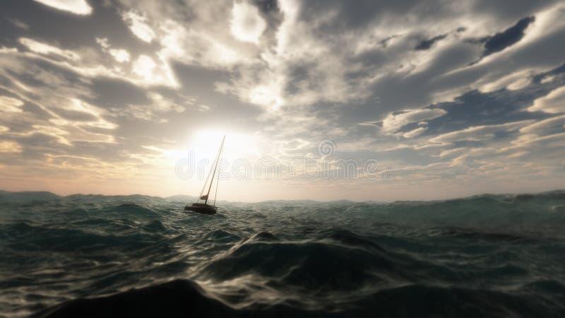 失去的帆船在狂放的风雨如磐的海洋 免版税库存图片