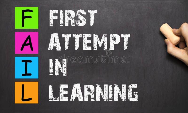 失败首字母缩略词在学会首先试图手写与白垩o 库存图片