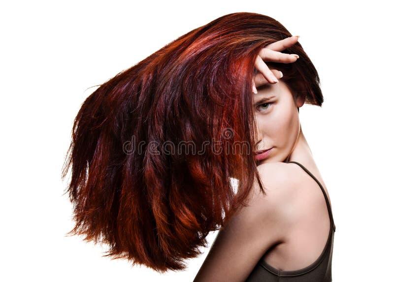 头发妇女美妙的年轻人 免版税库存照片