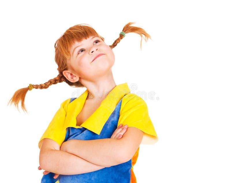 头发的女孩矮小骄傲的红色 免版税库存照片