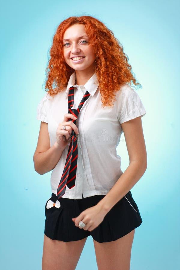 头发的愉快的红色妇女 库存照片