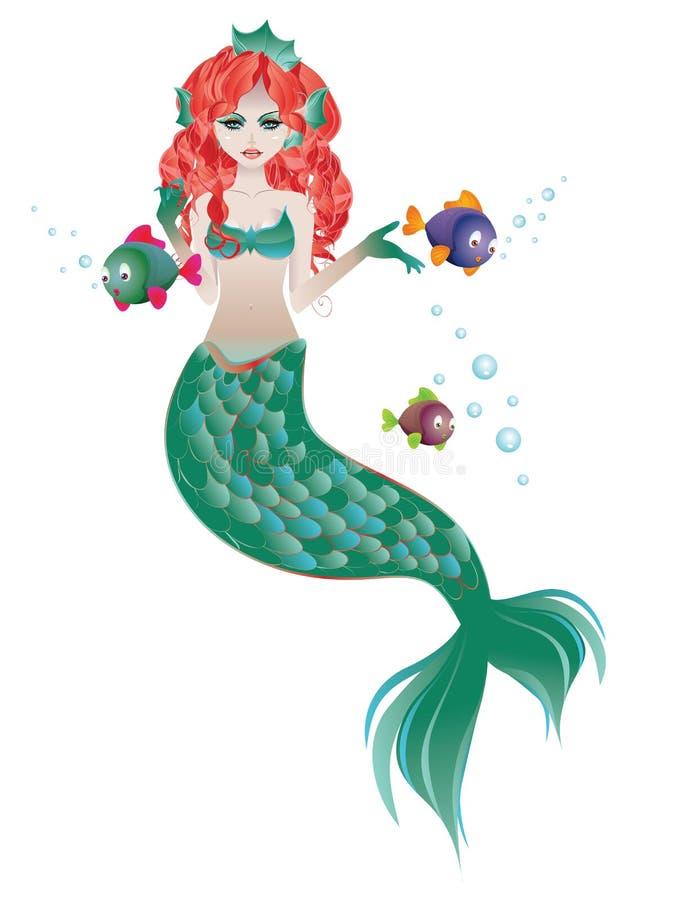 头发的美人鱼红色 向量例证