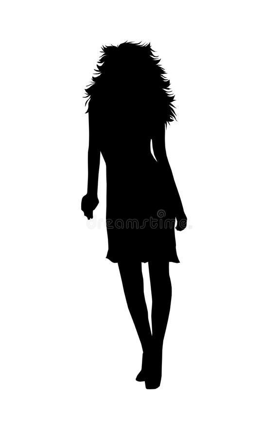 头发的长的剪影妇女 皇族释放例证
