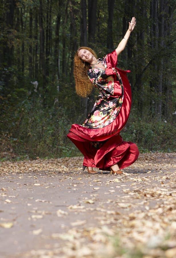 头发美丽的姜的女孩 免版税库存图片