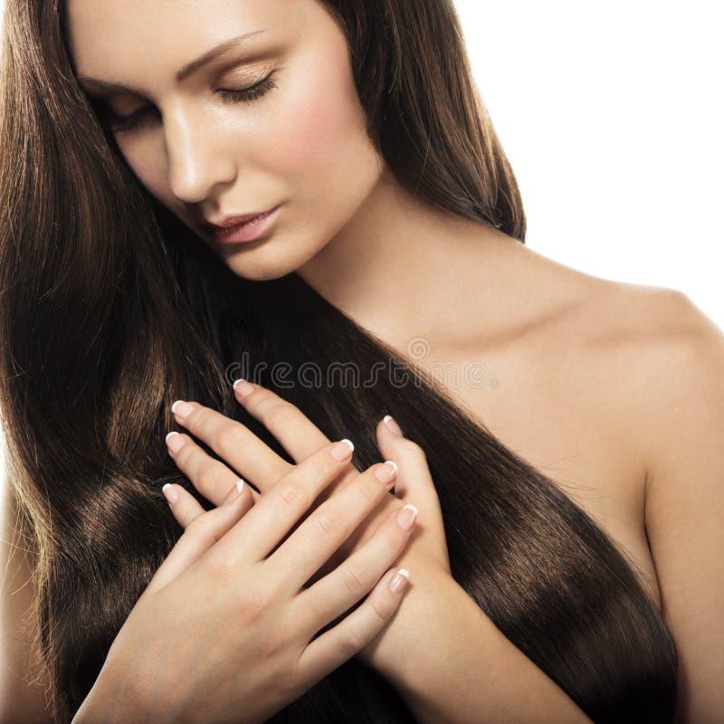头发长的妇女 图库摄影
